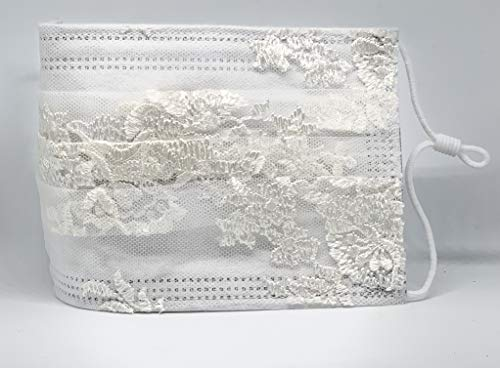 Braut Hochzeit medizinische Mund und Nasenbedeckung weiß creme mit aufgenähter Spitze verstellbaren Gummibändern