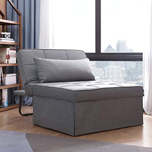 Folding Ottoman Sleeper Bed - Sofa Bed - Couch Bed - Convertible Chair Bed 4 in 1 Multi-Function Adjustable Ottoman Guest Bed Bench Convertible Sofa for Living Room/Bedroom/Small Apartment,Light Gray