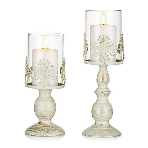 Sziqiqi Candelabro Ferro Vintage, Candelabro Ferro Romantico con Paralume per Matrimonio, Candeliere Arredamento Decorazione a Casa, S+L