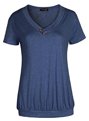 Fleasee Damen Basic V-Ausschnitt Kurzarm T-Shirt mit Knöpfen Stretch Falten Süße Herz Print Tunika Allover Anker Druck Sommer Oberteile (Dunkelblau, XL)