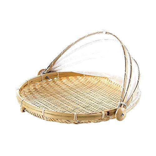 SZETOSY Bambus-Zelt-Korb - Lebensmittel-Servierkorb, Netzkorb, handgewebt, für Picknick, Lebensmittelabdeckung, Outdoor, Schutz vor Insekten und Staub, für Obst, Gemüse, Brot, Bambus, Stil 2, Dia.40cm