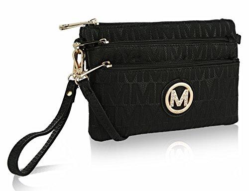 Bolsas transversais MKF para mulheres, alça de pulso – Bolsa de ombro de couro PU – Pequena bolsa carteiro transversal, Sarai Black, Small