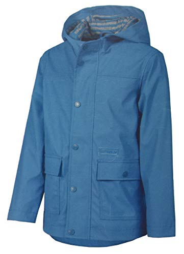 Jungen Friesennerz Regenjacke Jacke mit Kapuze Blau Maritim (Blau, 128)