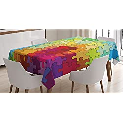 Ambesonne Abstract Tablecloth, Colorful Puzzle Pieces Fractal Children Hobby Activity Leisure Toys Cartoon Image, Dining Room Kitchen Rectangular Table Cover, 60 X 84, Green Purple