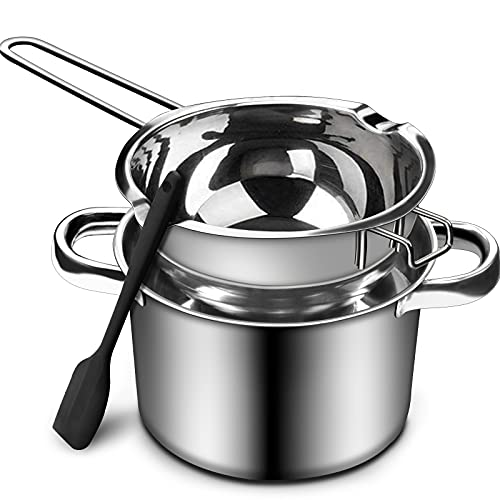 1000ML/1QT Double Boiler Chocolate Melting Pot with 2.3 QT 304 Stainless Steel Pot, Chocolate Melting Pot with Silicone Spatula for Melting Chocolate, Candy, Candle, Soap, Wax