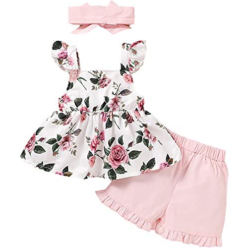 Conjunto Ropa Verano Algodón para Bebés Y Niñas Sin Mangas Estampado Floral Tirantes Volantes Pantalones Cortos Lazo Trajes