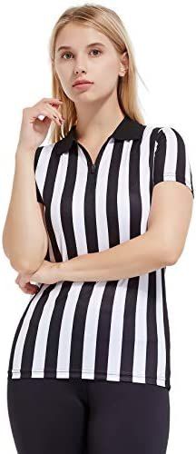 FitsT4 Women s Black White Stripe Referee Shirt Zipper Referee Jersey Short Sleeve Ref Tee Shirt product image