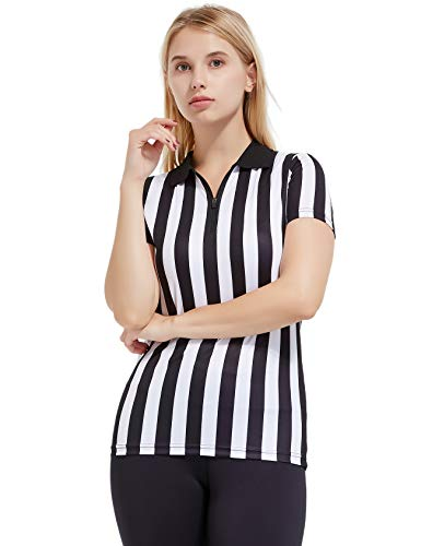 FitsT4 Women's Black & White Stripe Referee Shirt,Zipper Referee Jersey Short Sleeve Ref Tee Shirt for Refs, Waitresses & Costume
