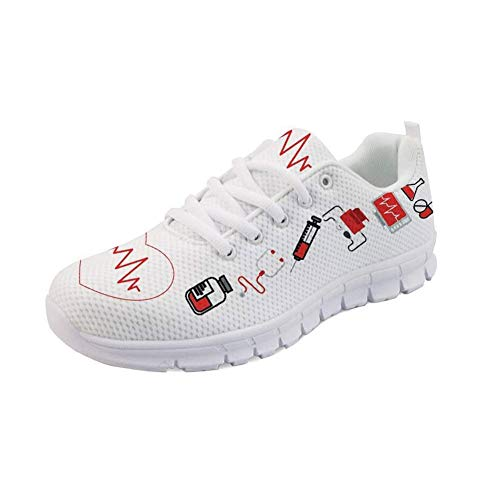Showudesigns Damen Sneaker Mesh Atmungsaktive Leicht Turnschuhe Laufschuhe Sportschuhe Krankenschwester Schuhe Bär- Cartoon Bear - Weiß EU41