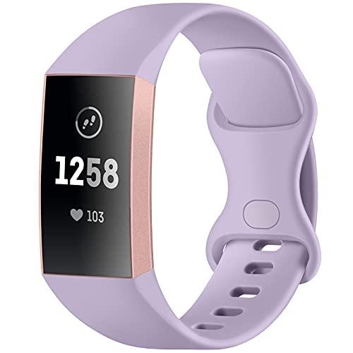 fuvoki Compatibile con Fitbit Charge 3 Cinturino/Fitbit Charge 4 Cinturino, Cinturini Sportivo di Ricambio per Charge 3/Charge 4/Edizione Speciale, Donna Uomo Grande Lavanda