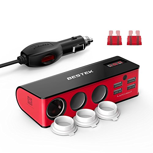 BESTEK 3 Fach Zigarettenanzünder 200W Verteiler mit 4 USB Anschlüsse Adapter 12/24V DC Auto Ladegerät für Smartphone, Tablet and GPS usw, mit 2 Sicherung, Rot