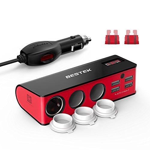 BESTEK 3 Fach Zigarettenanzünder 200W Verteiler mit 4 USB Anschlüsse Adapter 12/24V DC Auto Ladegerät für iPhone Smartphone iPad Tablet GPS usw, mit 2 Sicherung, Rot