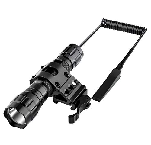 Megwoll Tactical Handheld Flashlight LED 1200 Lumen Light with QD Offset Picatinny Rail Mount Included Rechargeable Battery and Remote Switch for Outdoor Hunting Hiking