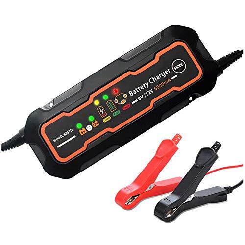 CUIJU Cargador de batería 12V 6V para batería de Plomo-ácido de automóvil y Motocicleta Cargador de batería Inteligente (Negro)