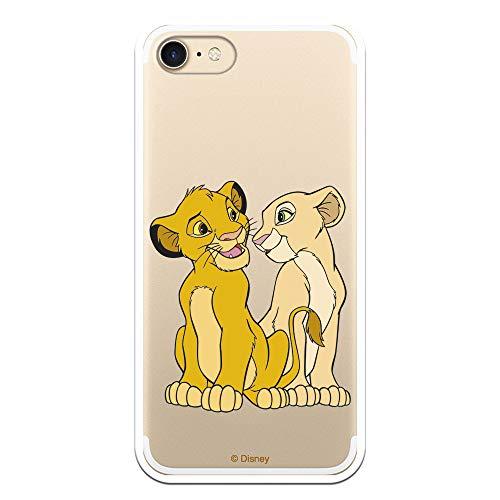 Funda para iPhone 7 - iPhone 8 - iPhone SE 2020 Oficial de El Rey León Simba y Nala Silueta para Proteger tu móvil. Carcasa para Apple de Silicona Flexible con Licencia Oficial de Disney.