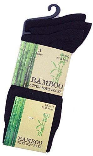 Hommes - Chaussettes en bambou très douces lot X3 - Noir, EU 39-45