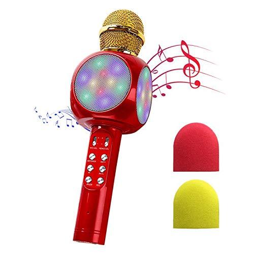 NIERBO Micrófono inalámbrico de Karaoke Bluetooth con Luces LED controlables, Altavoz portátil portátil de Karaoke Versión de actualización