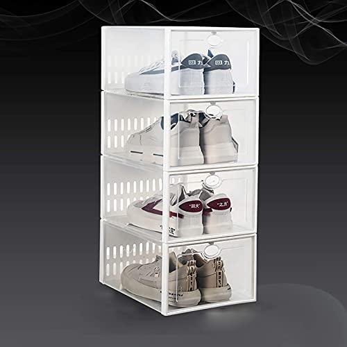 YQCX Caja de Zapatos Apilable de 4 Pack, Organizador de Zapatos de Plástico Transparente para Armario, Contenedor de Zapatos de Zapatillas de Deporte, Soporte de Zapatos de Ahorro d