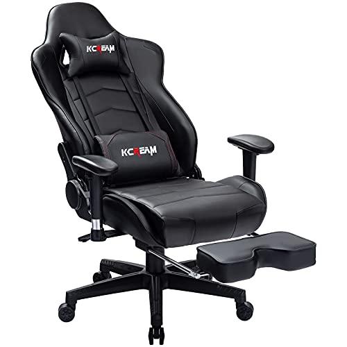 KCREAM Gaming Stuhl Schwarz Gaming Sessel Massage Racing Bürostuhl Höhenverstellbarer Drehstuhl PC Stuhl Ergonomisches Computerstuhl Gamer Stuhl