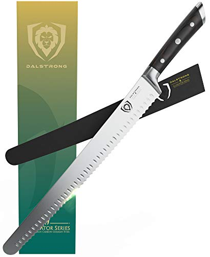 DALSTRONG - Extra-Long Serrated Slicing & Carving Knife - Gladiator Series - 14  - High Carbon German Steel - w Sheath