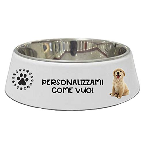 My Custom Style Ciotola polimero + Acciaio 21cm per Cani e Gatti, Personalizzata