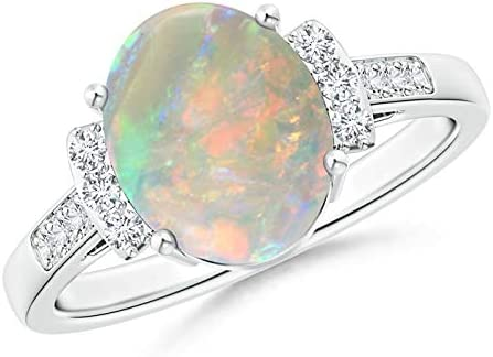 Classic Max 68% OFF Solitaire Oval Opal and Diamond 10x8mm Collar Recommendation Ring