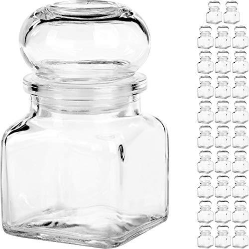 Giessle 30x kleine Vintage Gläschen für Hochzeit Gastgeschenke, retro Vorratsgläser, Geschenk Box aus Glas