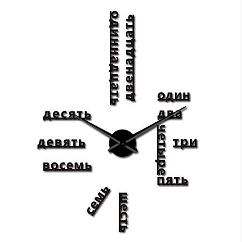 jukunlun Numéros De Langue Russe sans Cadre Bricolage Grande Horloge Murale Langues Étrangères Wall Art Room Decor Temps Horloge Cadeau pour Professeur Étranger 47Inch