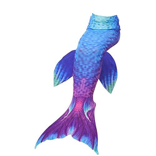 Womens Mermaid Tails Girls Mermaid Dressing Matching Mermaid Costume Blue Purple with Side Wings 5-6X Tag 120cm