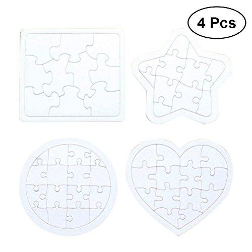 TOYMYTOY 4 Stück Papier Puzzle Blanko Puzzle Zum Bemalen Und Selbt Gestalten (Zufälliges Muster Weiß)