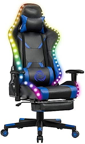 Sillas para juegos, silla para juegos Silla reclinable para carreras / silla ergonómica para juegos Reposapiés giratorio con respaldo alto y reposacabezas Soporte lumbar de masaje con luz LED RGB (Co
