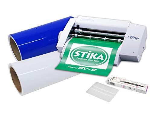 カッティングマシン ステカ SV-8 中長期カッティング用シート 10m 転写シート10m デザインカッター スキージー つきスターターセット (青 ブルー)