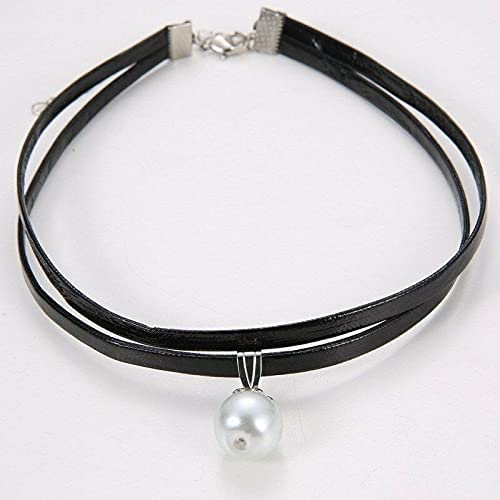 Fashion Gothic Leather Flannelette Pearl Choker Pendant Necklace Collar Jewelry - White Pearl Leather