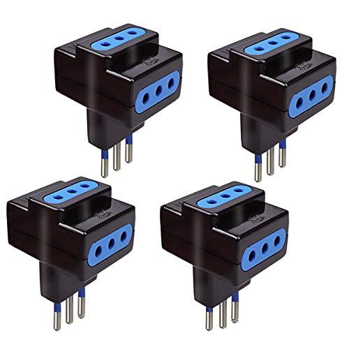 EXTRASTAR 4 Pezzi adattatore tripla presa con spina 10A,Nero, Confezione da 4