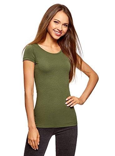 oodji Ultra Damen Tailliertes T-Shirt Basic, Grün, DE 40 / EU 42 / L