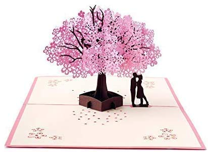 EcoToKo Valentine Day 3D Pop Up Card Fall In Love Cherry Blossom Tree Couple Handmade Romantic Greeting Card To Lover Girlfriend Wife Love Sign Birthday Anniversary Wedding Engagement