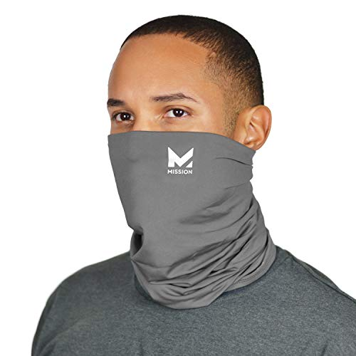 Mission Cooling Neck Gaiter Customize Your Coverage, Face Mask, Cools when Wet- Charcoal