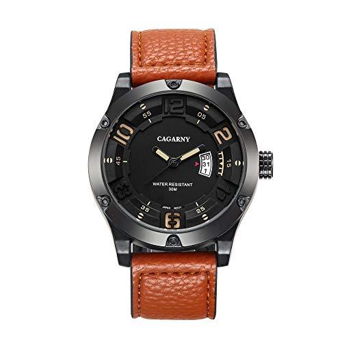 DAZHE Militäruhren CAGARNY Quarzuhren, Herren Quarzuhr Mode Leder Quarz Uhr Herrenuhr (Color : 1)
