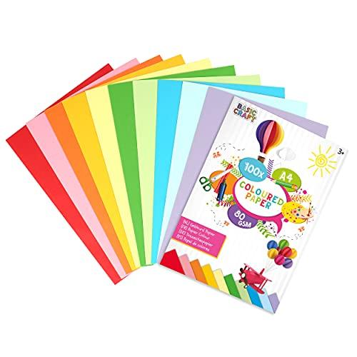Basic Craft buntes Origami Papier DIN A4 | 100 Origami Blätter in 10 lebendigen Farben | Faltpapier für Bunte Origami zum Basteln | ideal für Scrapbooking & DIY Bastelkunst geeignet | 80 Gramm