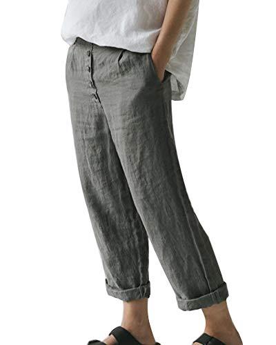 Minetom Pantaloni Donna Elegante Solido Pulsanti Cotone Lino Pantaloni Casual Sciolto Pantaloni Larghi Gamba da Donna Estivi Harem Pantaloni Boho Leggings Donna Palestra Push Up Donne Blu M