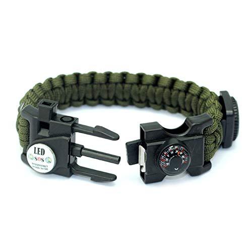 X-xyA Notfall Paracord Armband, Einschließlich Feuerstein, Pfeife, Kompass, Thermometer, LED-Licht, Ist Das Beste Feld Survival-Kit Camping/Angeln,Grün