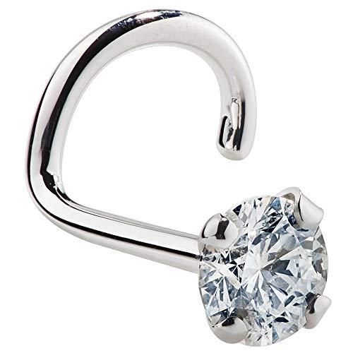 Women's Diamond Nose Ring Stud 2.5mm 0.05ct 14K White Gold Nose Ring Twist Screw SI1 Clarity 20 Gauge