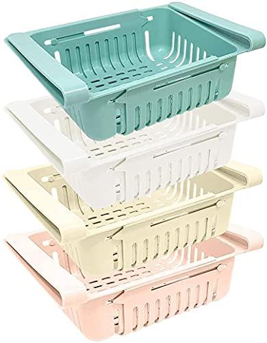 Set di 4 organizer frigorifero | Contenitori per frigorifero in plastica | Organizer cucina frigo box (blu, bianco, rosa, beige)