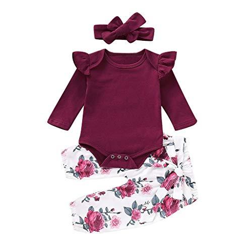 Neugeborene Baby Mädchen Kleidung Set,Kleinkind Baby Mädchen Strampler Overalls + Hosen +Stirnband Baby Outfit Winter Kleidung Set