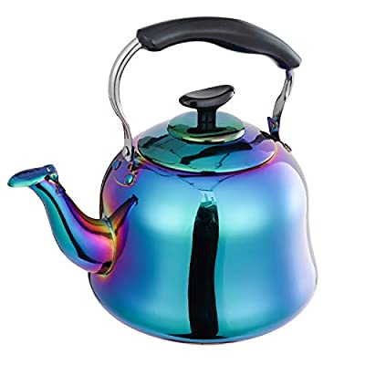 Whistling Tea Kettle Stainless Steel Teapot Rainbow Teakettle for Stovetop Induction Stove Top Fast Boiling Heat Water Tea Pot Colorful 2-Liter 2.1-Quart