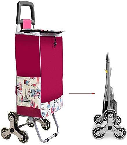 Shopping cart Opvouwbare trolley, wielen Winkelwagen met Silent Drie Wielen en Afneembare waterdichte tas, Stair kinderwagen, Portable Trolley Lichtgewicht winkelwagentje (Color : Red)