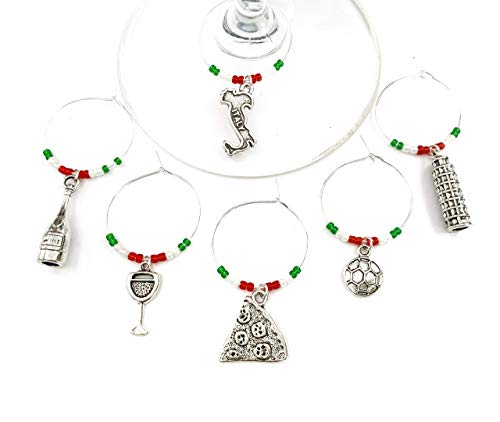 Italy Wine Charms, Gift for Italian and those who love Italy. Includes Pizza, Italy charm, Leaning Tower of Pisa, Soccer. Set of 6. ITALY FLAG THEMED BEADS.