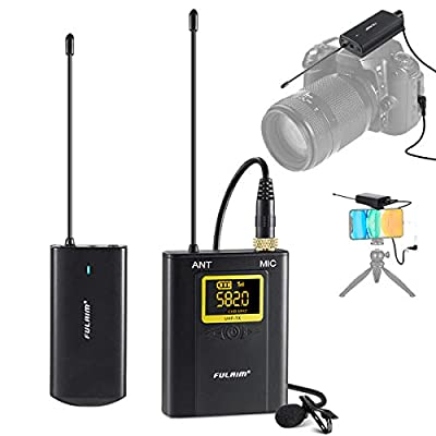 UHF Wireless Lavalier Microphone System, FULAIM WM300 20-Channel Lavalier Lapel Mic with Rechargeable Transmitter and Receiver for Recording YouTube, Interview, Vlogging, Conference, Church - 1TX