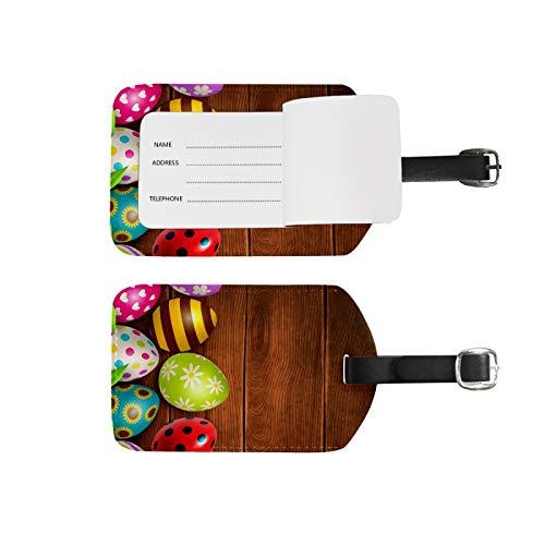 Etiquetas de equipaje, soporte para nombre de dirección, 2 unidades, portátil, identificador, bolsa de tarjetas, decoración de equipo de viaje, huevos coloridos de madera de Pascua para maletas bolsas