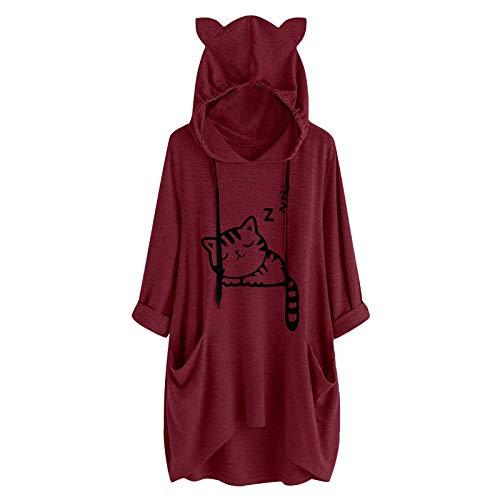 Sudadera con capucha para mujer, de otoño, con estampado de gato y oreja, manga larga, informal, básica, con capucha, manga larga, Vino, L